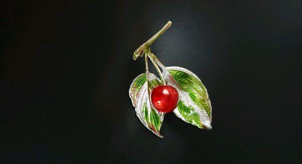 Райское яблочко брошь-подвеска серебрение, ювелирная эмаль ...
