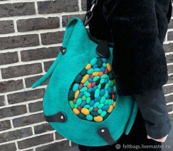 Большая Сумка Морские камушки, шоппер бирюзовая сумка ...