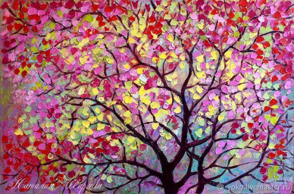 """Картина сакура """"Дерево счастья"""" масло – заказать на ..."""