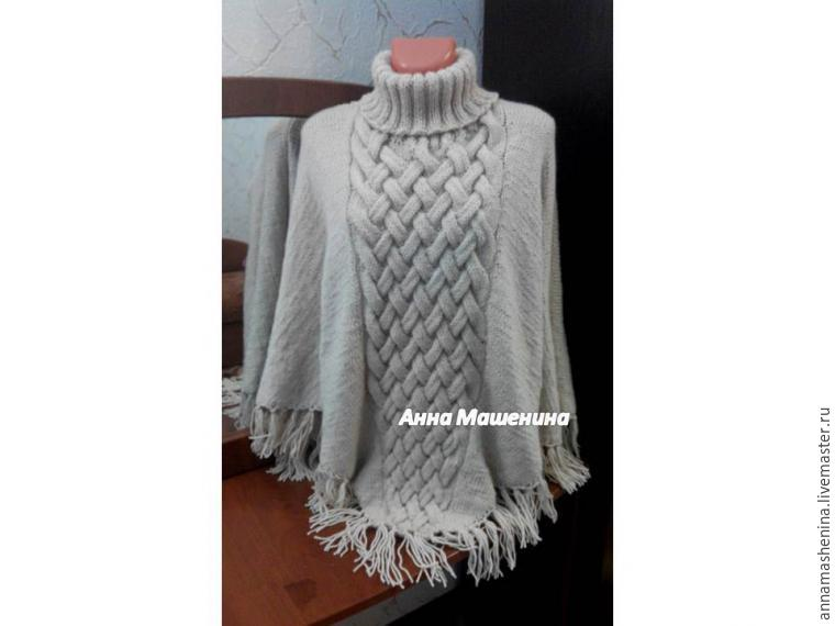 Comment tricoter Poncho triangulaire avec gorge, photo № 3