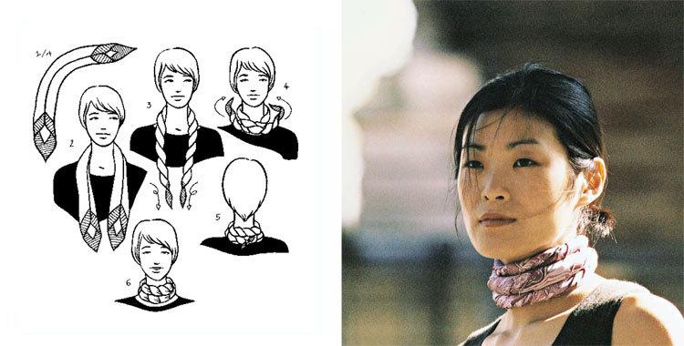 손수건을 아름답게 묶는 28 가지 방법, 사진 № 11