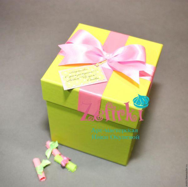 Подарок подруге коробочка с пожеланиями и Вашим подарком ...