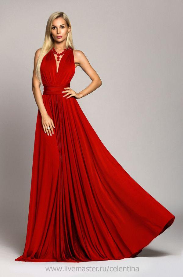 Длинное красное вечернее платье трансформер – купить в ...
