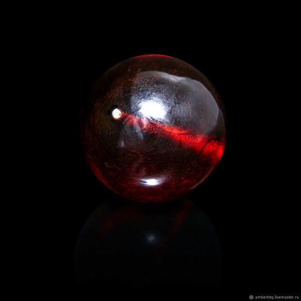 Шар - Янтарь - 10мм - цвет Вишня красная - Сверленный ...