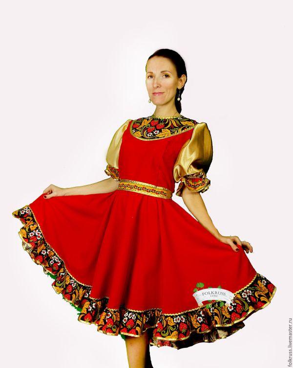 Русский народный танцевальный костюм Хохлома – заказать на ...