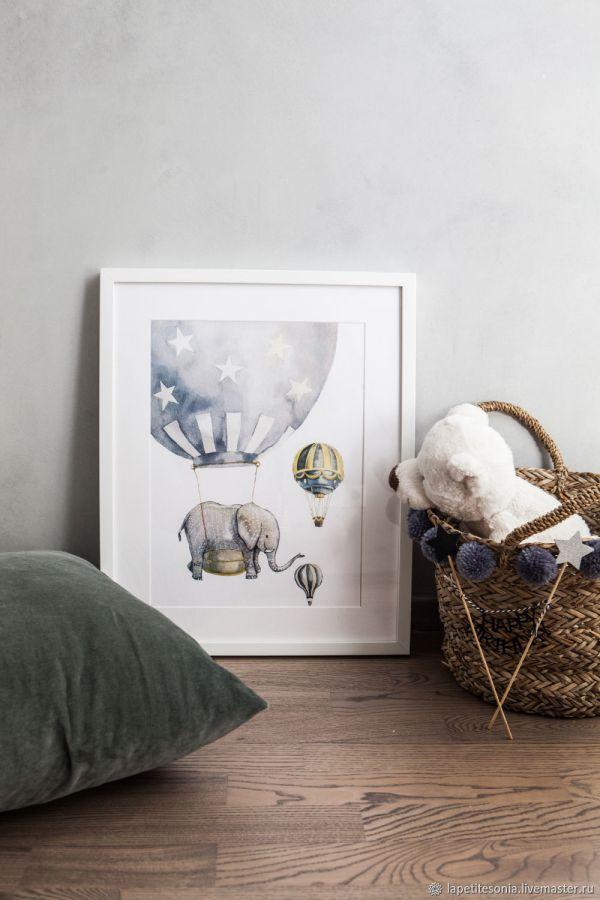 Постеры для детской комнаты с животными и воздушными ...