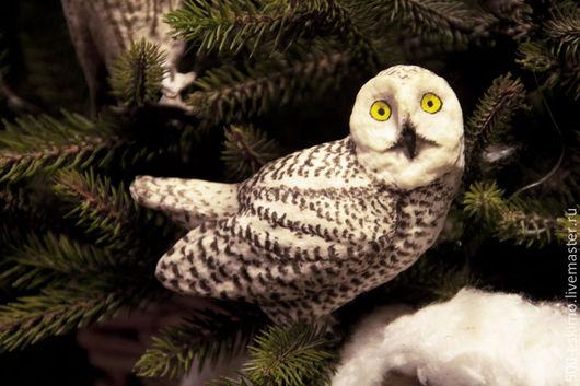 Купить Полярная сова ёлочная игрушка из ваты - белый, сова ...