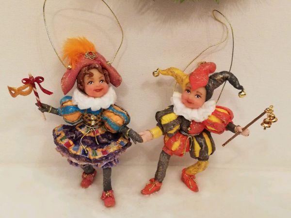 Коломбина и Арлекин, парные елочные игрушки из ваты ...