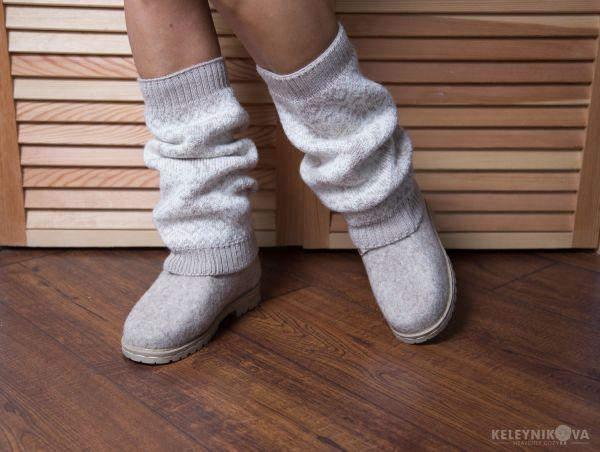 Валяные ботинки с гетрами и сумка – заказать на Ярмарке ...