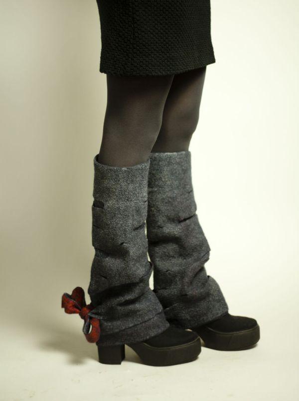 Купить Серые валяные гетры - гетры женские, теплые гетры ...