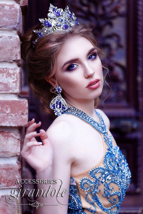 """Серьги длинные """"Голубой бриллиант"""" в стиле барокко ..."""