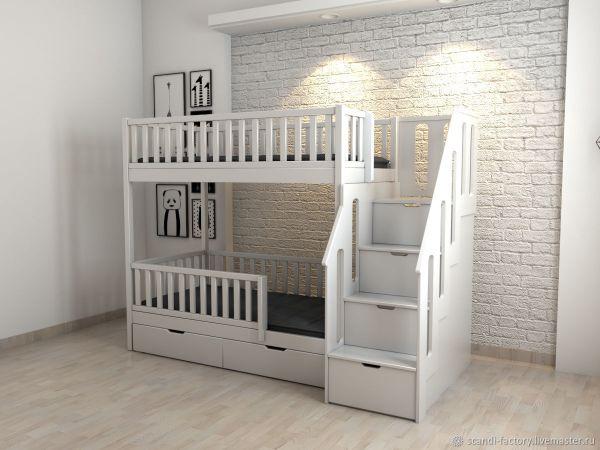 Двухъярусная кровать - Lagurin с лестницей-комодом ...