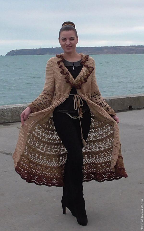 Вязаное крючком пальто «Песня песочного ветра» – заказать ...