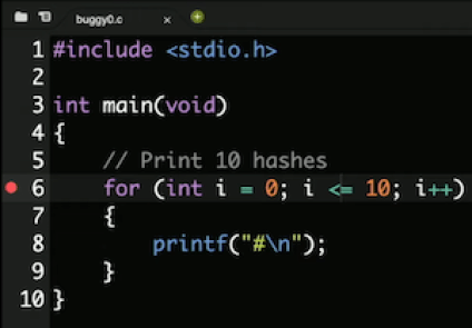 code editor with red icon next to line 6 of code