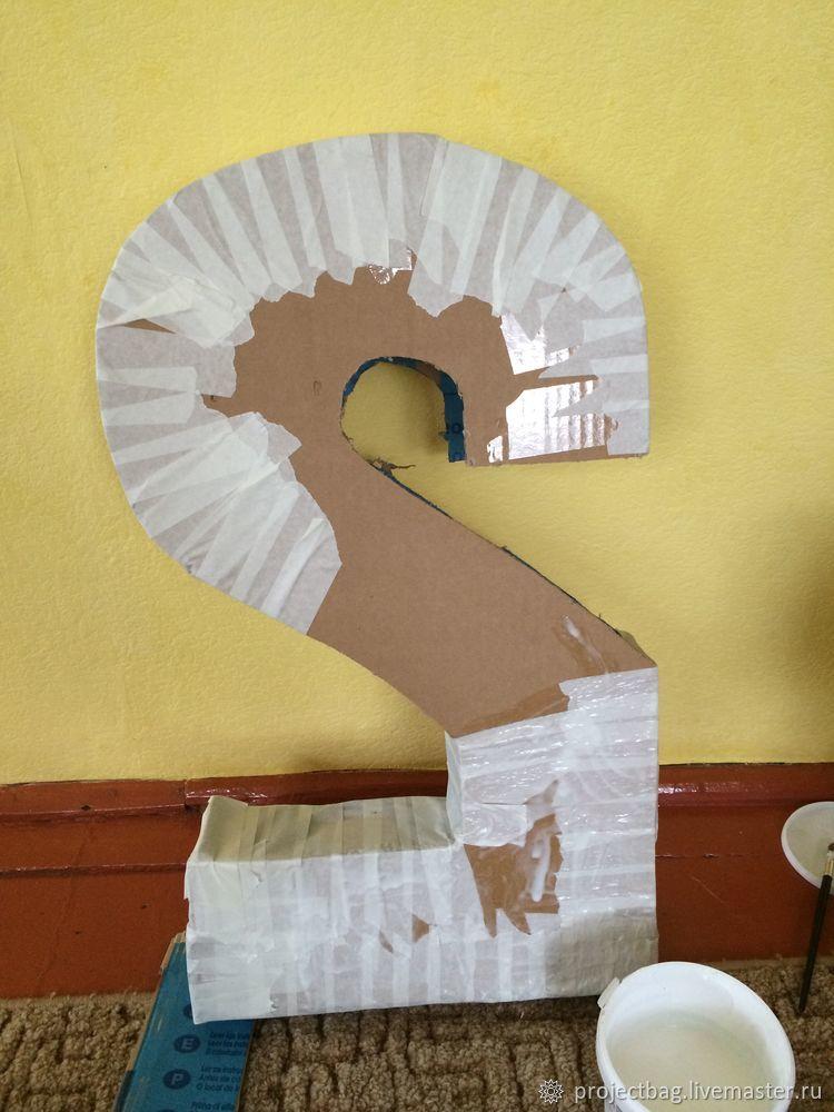 Делаем праздничную цифру из салфеток и картона, фото № 5