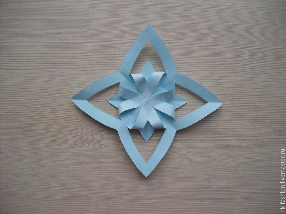 Herstellung einer Girlande aus volumetrischen Schneeflocken, Foto Nummer 14