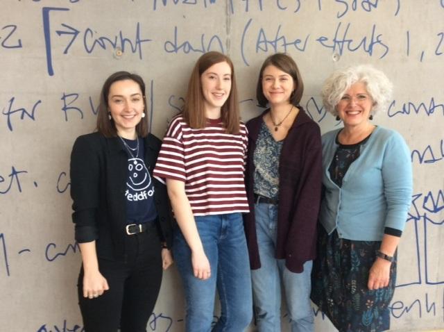 CSAD Dean Olwen Moseley with Gwenllian Llwyd, Charlotte Grayland and Heledd Evans