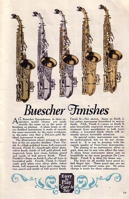 Buescher Finishes - 1920's