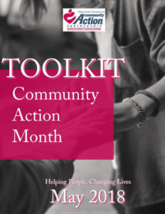 Two people shaking hands, Toolkit. Community Action Month