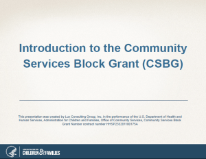 Introduction to the Community Services Block Grant