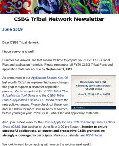 June 2019: CSBG Tribal Network Newsletter