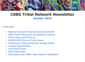 October 2019 CSBG Tribal Network Newsletter