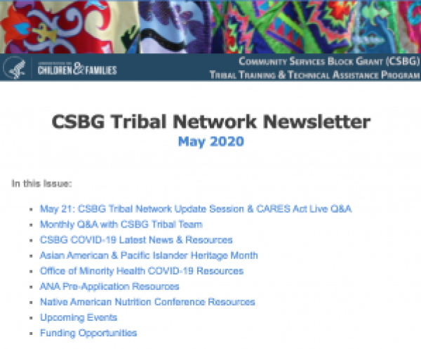 May 2020 CSBG Tribal Network Newsletter