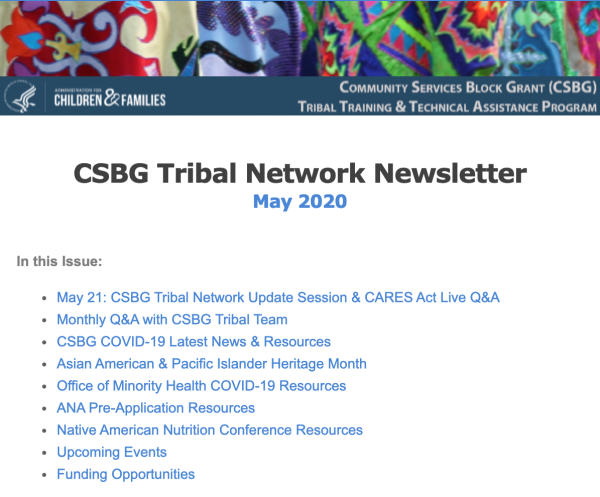 May 2020 CSBG Tribal Network Newsletter
