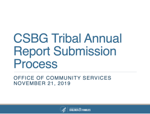 CSBG Tribal Annual Report Submission Process Slide Image