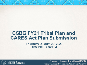 CSBG FY21 Tribal Plan and CARES Act Plan Submission Cover Slide
