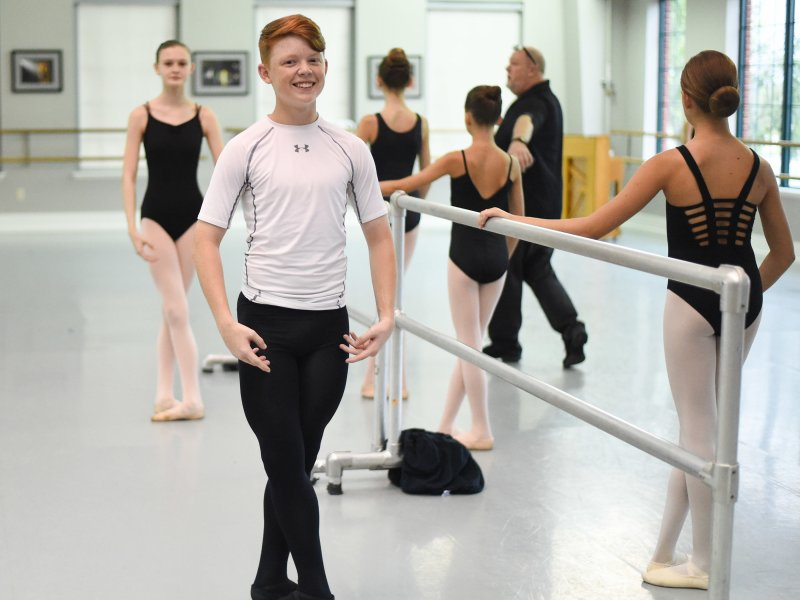 Boy in Ballet class at Columbia Summer Ballet Intensive