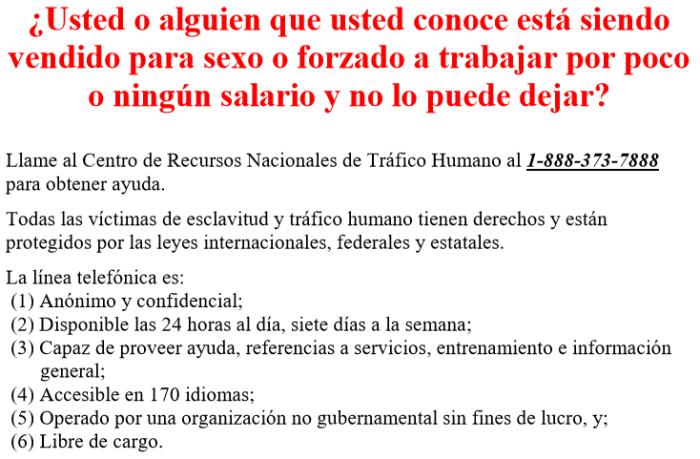 HumanTraffickingNoticeGBISpanish