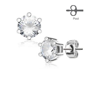 Classic Style Prong Set Earings (Pair)