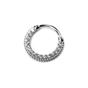 14k White Gold with Gems – Clicker for Septum / Daith