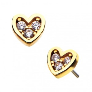 Solid 14k Gold Hearts with CZ Gems
