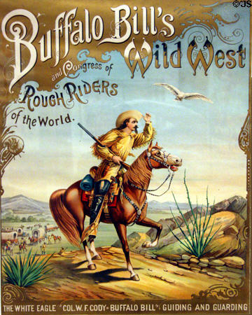 A picture of Buffalo Bill's Wild West Show was displayed at the presentation along side a table covered with copies of Friesen's books.