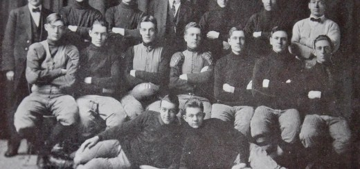"The 1911 football team pose for a group photo with the then Northwest Nebraska State Normal School's first president Joseph Sparks, top middle. — Photo courtesy for ""The Northwestern"""