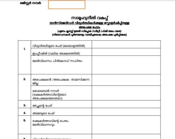 Kerala Transgender Scholarship Scheme Application form