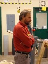 History Teacher Michael Salat watches the demonstration.