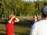 Dane takes an eye-dominance test before shooting.