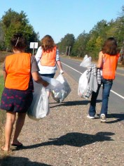Students on highway cleanup patrol