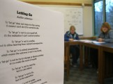 """Students read a poem that helped us let go of the """"positions"""" that cause conflict, and to focus on the """"interests""""."""