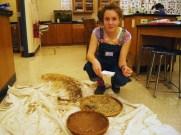 Linnea explains kale seed harvesting