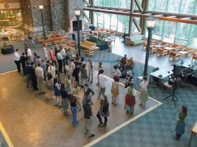 Contra dancing in the Gathering Space