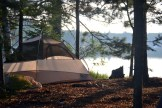 The campsite was on the shore of Big Donahue Lake