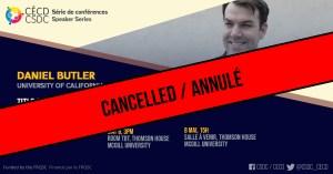 ANNULÉ - Série de Conférences - Daniel Butler @ Salle à déterminer, Thomson House, McGill