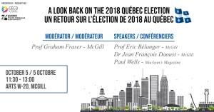 A look back on the 2018 Quebec Election @ Arts W-20, McGill | Montréal | Québec | Canada