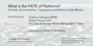What is the FATE of platforms? Fairness, Accountability, Transparency and Ethics Under Review @ Room H1220, Hall Building, Concordia | Montréal | Québec | Canada