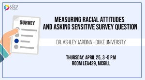 CSDC Method Workshop: Measuring Racial Attitudes and Asking Sensitive Survey Question @ LEA429, McGill
