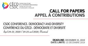 CSDC Conference - Democracy and Diversity @ Salle Polyvalent (Sh-4800), Pavillon Sherbrooke, UQAM